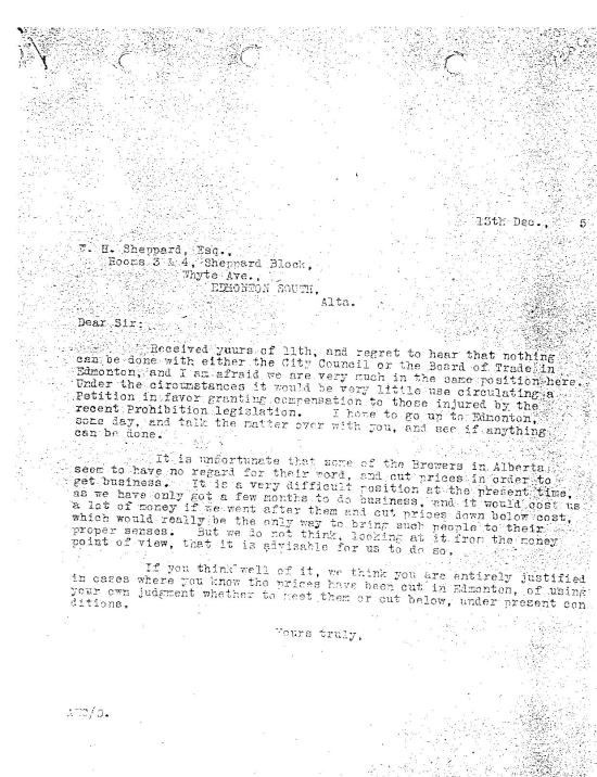 Cross' reply to Sheppard on Dec 13, 1915