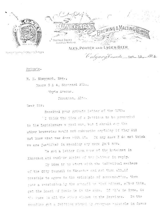 Cross' reply to Sheppard on Oct 15, 1915 (part 1)