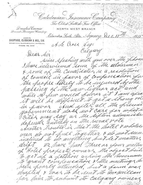 Sheppard's more concerned letter to Cross on Dec 11, 1915 (part 1)