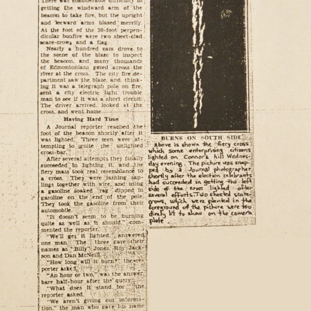 An Edmonton Journal article about the cross burning on November 12, 1931.