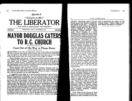 An article of the Liberator criticizing Edmonton's Mayor Douglas for being too supportive of Catholics.