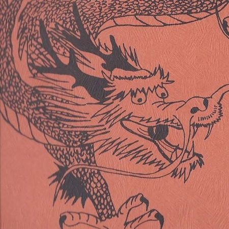 A dragon swirling down on a red background, from the Chinatown Conference poster
