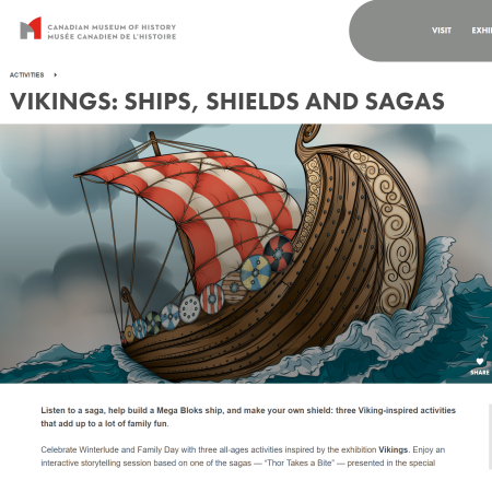 A screenshot of a Viking ship sailing through big waves on the Canadian Museum of History website