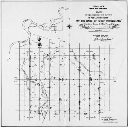An October 1890 survey of the Papaschase reserve. The Mount Pleasant Cemetery hill is shown on this map as the diagonal smudge on the north border of the reserve, towards its west edge.
