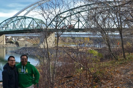 Chris Chang-Yen Phillips and Raymond Matthias in front of the two Walterdale Bridges.