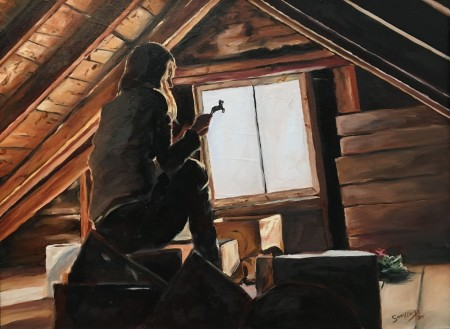 A painting of a figure with long hair in an attic, backlit against a window as they sort through boxes. The figure holds us a small horse figure against the light.