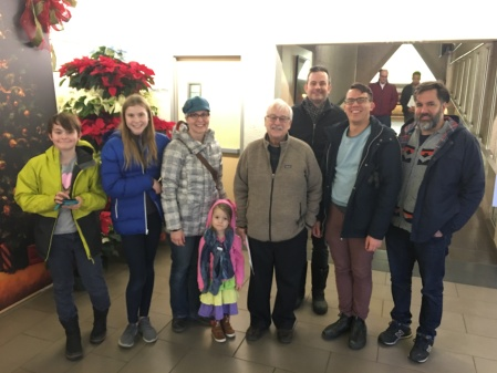 (Left to right): Oliver, Cleo, Nicole, Mae, Ken Tingley, Jason, Chris Chang-Yen Phillips, and Russ Cobb at the Muttart Conservatory.