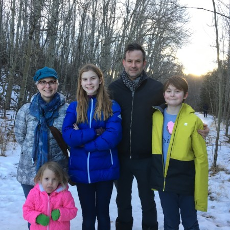 Nicole, Mae, Cleo, Jason, and Oliver Harcus (left to right) in Mill Creek Ravine.