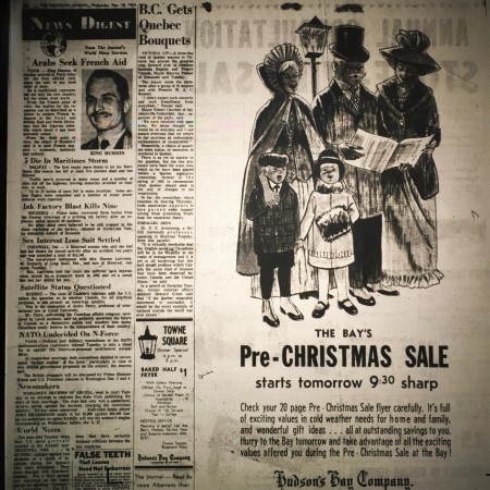 An ad for the Bay's Pre-Christmas Sale in the Edmonton Journal on November 18, 1952.
