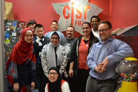The Climate Change Radio Camp gang (mostly). Back row (left to right): Meagan Miller, Chris Chang-Yen Phillips, Oumar Salifou. Middle row: Mariam Macabanding, Andrew Hui, Laila Elbery, Chad Brunet, Sewar Yousef, and Aaron Dublenko. Front row: Nuha Taha.
