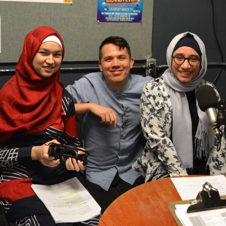 Mariam, Chris, and Laila in the on-air booth at CJSR.