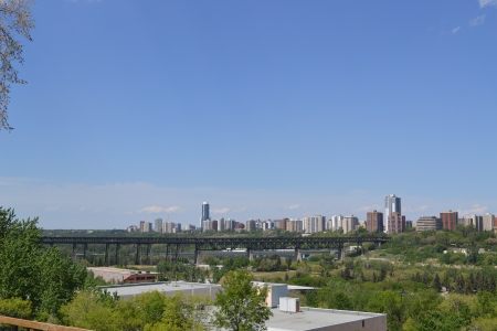 Looking west towards the High Level Bridge, with the downtown skyline in the background.