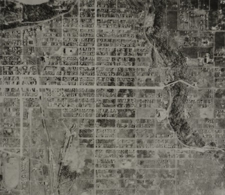 An aerial photo of Ritchie from 1924 shows their house already on 79 Ave NW.