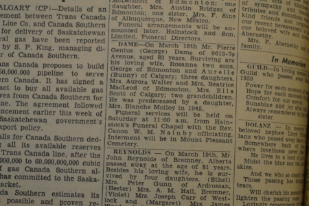 Pierre Genius (George) Dame's obituary, from the March 21, 1953 edition of the Edmonton Journal