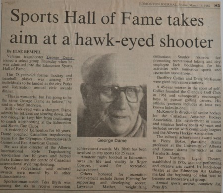 An article about one of the house's former residents, George Dame Jr. The headline reads: Sports Hall of Fame takes aim at a hawk-eyed shooter.