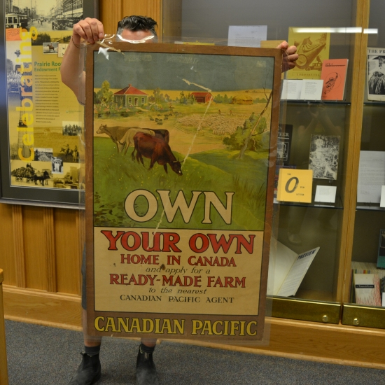 The poster reads: Own Your Own Home in Canada. It shows cows eating grass on a sunny prairie farmstead.