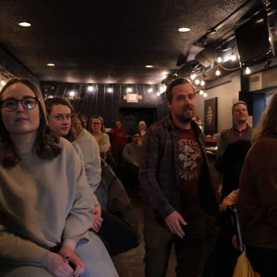 Crowd including Brandi Kueber, Dustin Bajer, Karen Wall (Photo: Trevor Chow-Fraser)