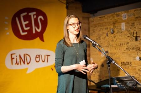 Miranda Lucas speaks on stage.  (Photo: Mack Male)