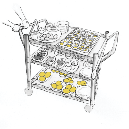 A hand-drawn pen and ink illustration of a dim sum cart, with egg tarts and buns highlighted in yellow.