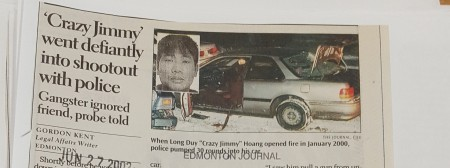 "An Edmonton Journal article with a photo of Long Duy ""Crazy Jimmy"" Hoang and his car."