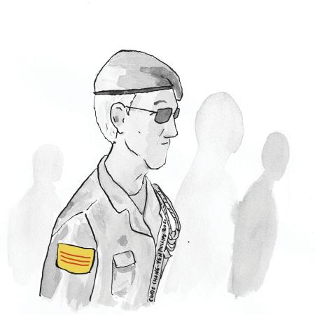 An illustration of an older man wearing an ARVN uniform. The illustration is black and white except for the South Vietnamese flag on his shoulder, which is yellow and red.