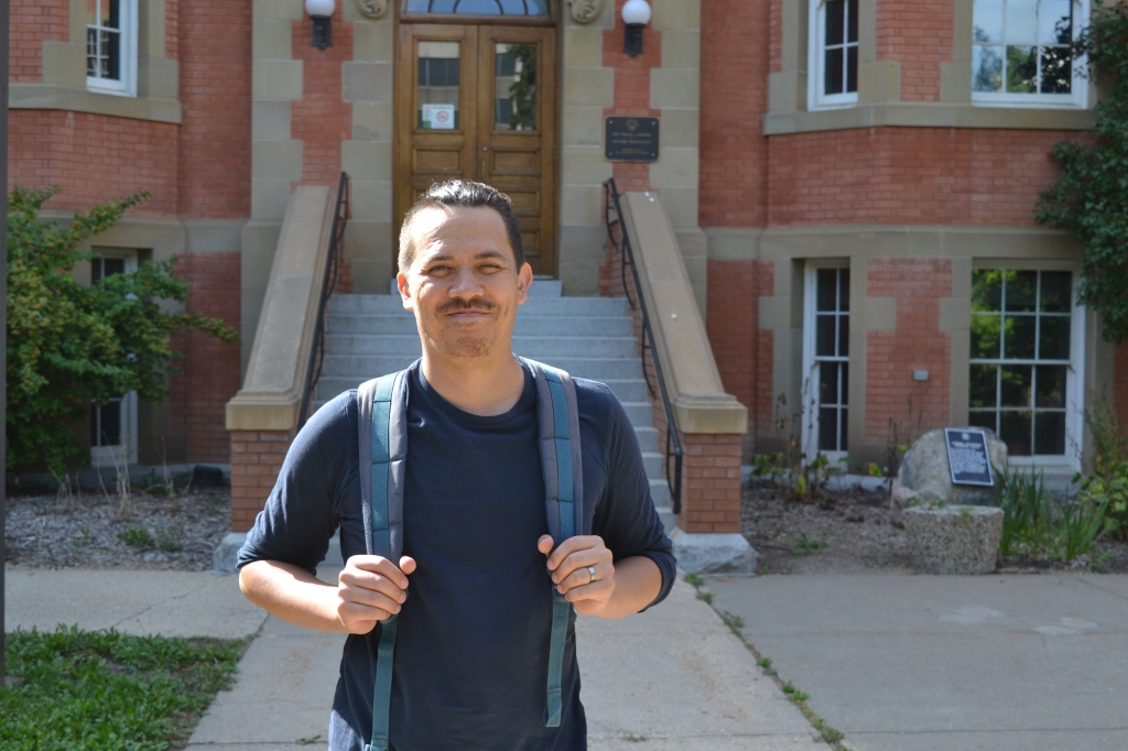 chris chang-yen phillips stands ready for school at the university of alberta. photo by finn phillips.